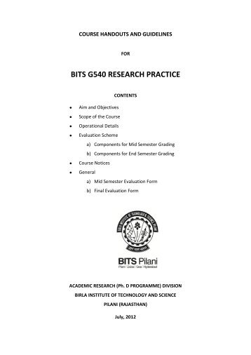 BITS G540 RESEARCH PRACTICE - Student Welfare Division