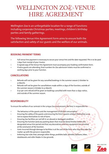 Venue Hire Terms Of Hire Agreement Nsw