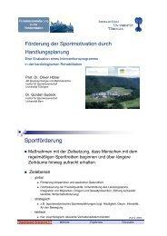 Förderung der Sportmotivation durch Handlungsplanung - Zentrum ...