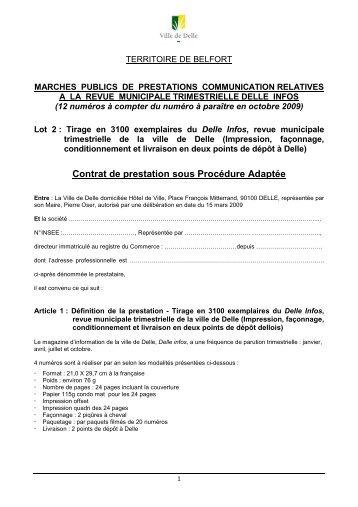 Contrat impression delle infos lot 2 - Mairie de Delle