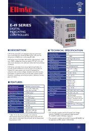 E-49 Series Digital Indicating Controllers - Elimko