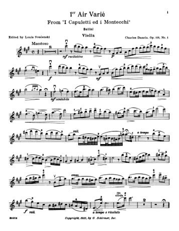 1st Air Varie (op 118,No 1 Violin) - Free Sheet Music Downloads