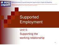 Unit 5: Supporting the work relationships - Supported employment ...