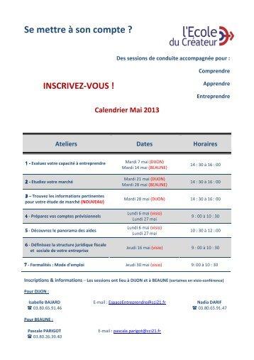 Calendrier Mai 2013 - CCI Côte-d'Or