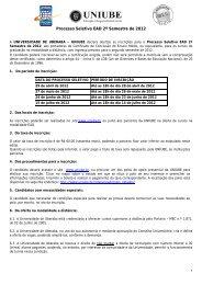 Processo Seletivo EAD 2º Semestre de 2012 - Uniube