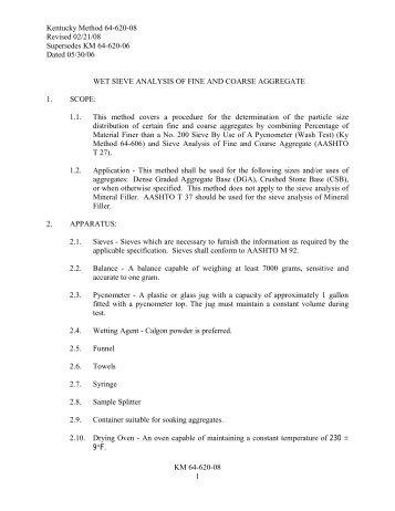 KM 64-620-08 1 Kentucky Method 64-620-08 Revised 02/21/08 ...