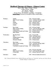 View the Fitness Class Schedule - Memorial Health Center