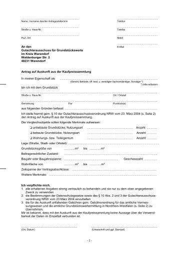 Auskunft aus der Kaufpreissammlung (Formular zum ... - OSIRIS