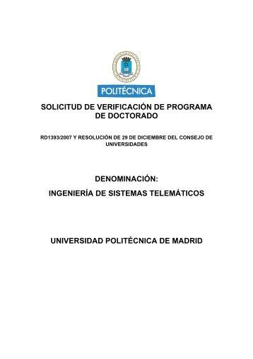 solicitud de verificación de programa de doctorado denominación