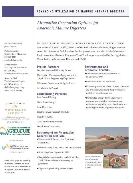 project factsheet - web pdf - The Minnesota Project