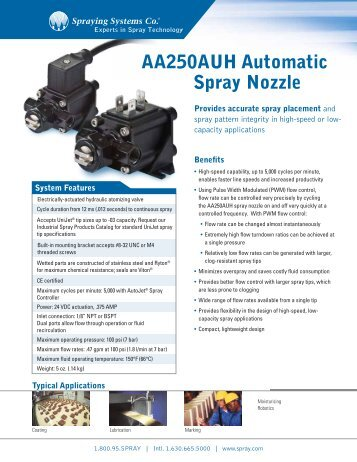 AA250AUH Automatic Spray Nozzle - Spraying Systems Co.