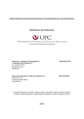 mejor memoria demandante - Facultad de Derecho - Universidad de ...
