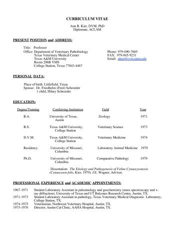 curriculum vitae - School of Veterinary Medicine - Louisiana State ...