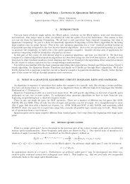 Quantum Algorithms - Lectures in Quantum Informatics