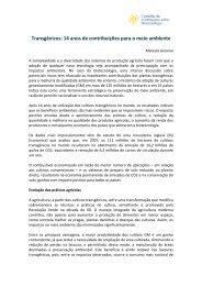 Transgênicos: 14 anos de contribuições para o meio ambiente - CIB