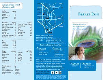 Breast Pain - Baylor Health Care System