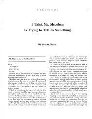 I Think Mr. McLuhan Is Trying to Tell Us Something By Sylvan Meyer