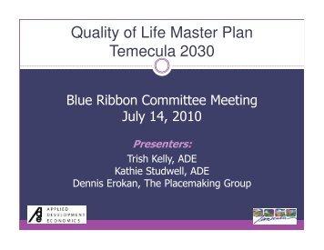Quality of Life Master Plan Temecula 2030 - City of Temecula