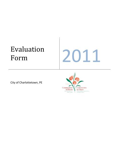 2011-Evaluation -Form - City of Charlottetown