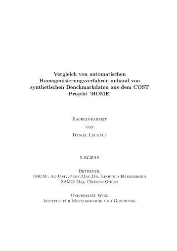Vergleich von automatischen Homogenisierungsverfahren anhand ...