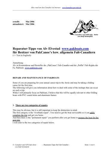 Reparatur-Tipps von Alv Elvestad www.pakboats.com für Besitzer ...