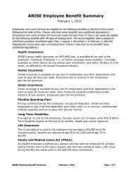 ARISE Employee Benefit Summary