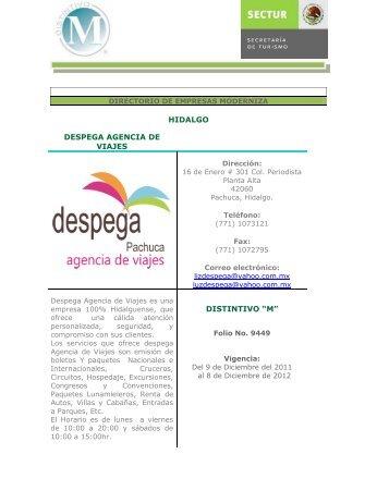 """HIDALGO DESPEGA AGENCIA DE VIAJES DISTINTIVO """"M"""" - Sectur"""