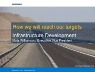 Infrastructure Development How we will reach our targets - Skanska