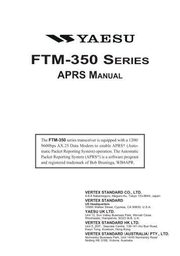 ftm-350 series aprs manual