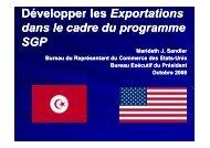 Développer les exportationsdans le cadre du programme SGP