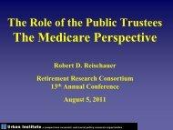 View Robert Reischauer's presentation - Center for Retirement ...