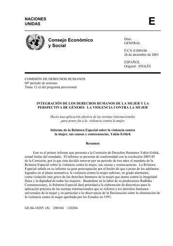 Relatora Especial Violencia contra la Mujer. Informe 2003