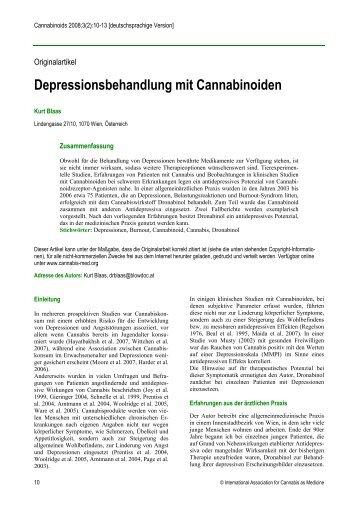 Depressionsbehandlung mit Cannabinoiden - International ...