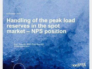 Nord Pool Spotin ajatuksia tehoreservien aktivoinnista - Fingrid