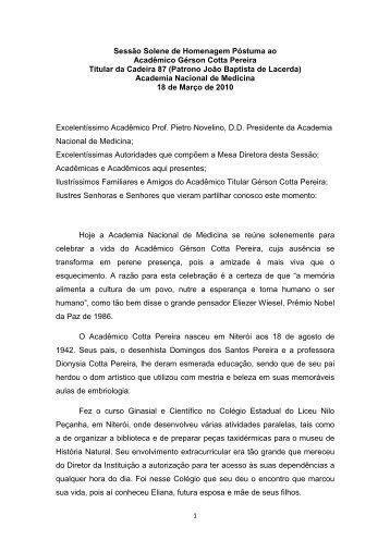 Discurso de Homenagem Póstuma ao Acad. Gerson Cotta - Pereira ...