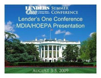 Lender's One Conference MDIA/HOEPA Presentation