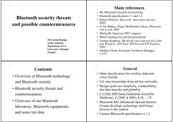 Bluetooth security threats and possible countermeasures