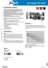 GE 1050 VP/VPC Leistung - Genvex