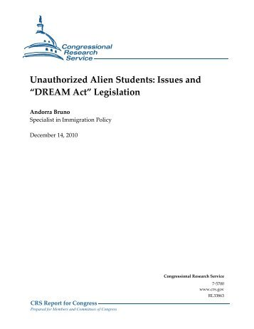 "Unauthorized Alien Students: Issues and ""DREAM Act ... - ILW.com"
