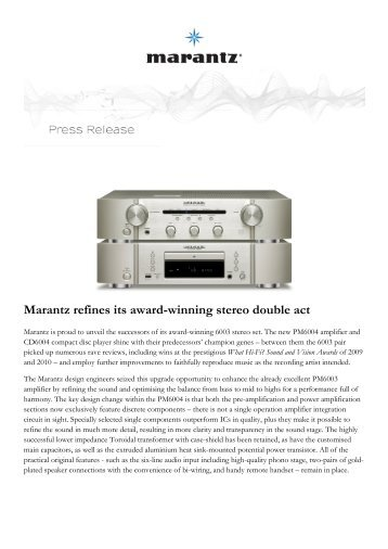 Marantz refines its award-winning stereo double act - Novomusica