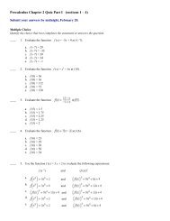 Precalculus Chapter 2 Quiz Part I (sections 1 – 4)
