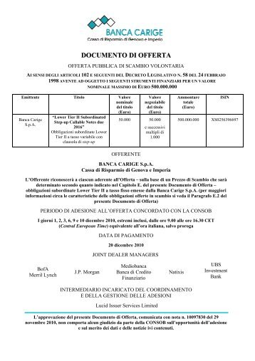 DOCUMENTO DI OFFERTA - Consob