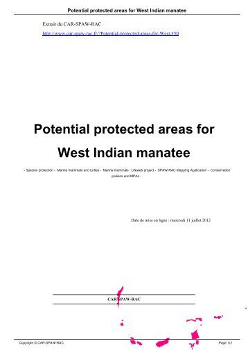 Potential protected areas for West Indian manatee - CAR-SPAW-RAC