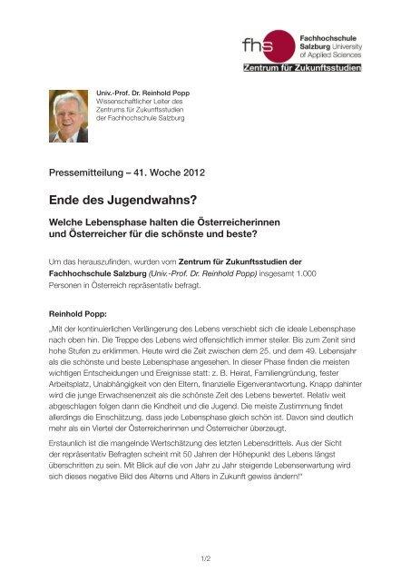 Ende des Jugendwahns? - Fachhochschule Salzburg