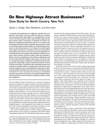 Do New Highways Attract Businesses? - Cambridge Systematics