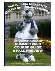 preview of fall 2008 course schedule - Immaculata University