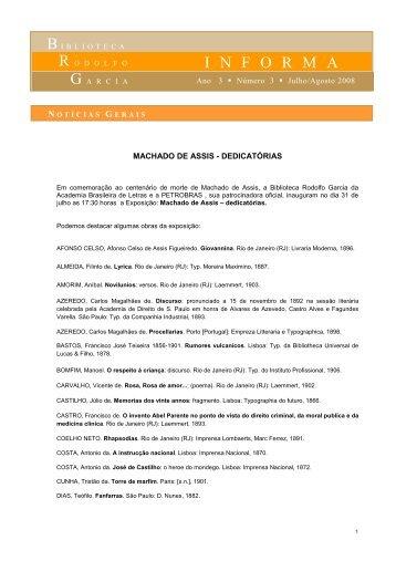 Notícias Gerais - Julho e Agosto Final - Academia Brasileira de Letras