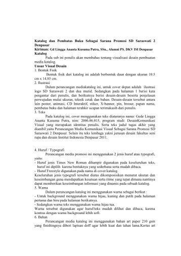 Katalog dan Pembatas Buku Sebagai Sarana Promosi SD ...