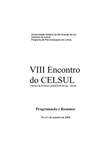 Caderno de Resumos - Celsul.org.br
