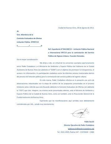 Ciudad de Buenos Aires, 28 de Agosto de 2013 ... - Poder Ciudadano